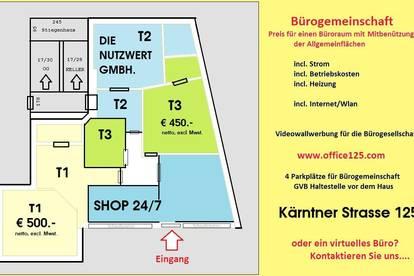 Büro in der Kärntner Strasse 125 - Pauschalmiete incl. Strom, Internet, Betriebskosten........PROVISIONSFREI