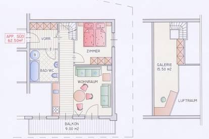 65  qm-Comfort-Maisonette-Apartmen-Süd / voll möbliert / ALL-INKLUSIVE 596,70 / ab Juli 2020