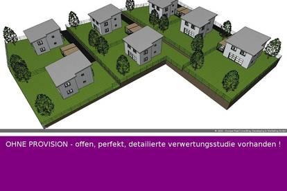 PERFEKTE 3724 m2 Eck-Bauträgerliegenschaft mit einem Abbruchobjekt - IDEAL für 7x Einfamilienhäuser + OHNE PROVISION