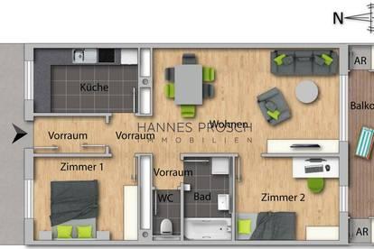 Miete: Helle Obergeschosswohnung mit Bergblick