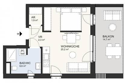 Kompakte, neue Eigentumswohnung am Klopeiner See mit ca. 36 m² Wohnfläche, TOP 8, 1. OG