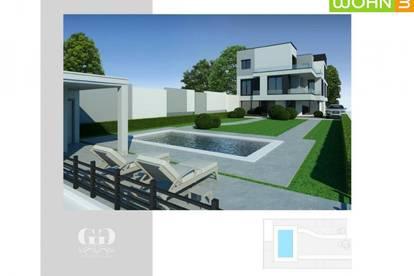 Das clevere Wohnbauprojekt mit Pool am Badeteich Hirschstetten! ERSTBEZUG-NEUBAUPROJEKT! Exklusive Ausstattung, Autostellplatz, 50m² Gartenparzelle Architekten Haus!
