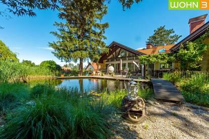 Grandiose Familienvilla mit extra 75m² Wohnung und eigenem Schwimmteich, uneinsehbarem Garten und eigenem Waldstück in absoluter Grün-Ruhelage