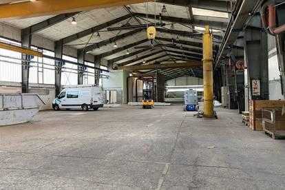 Ebenerdige Produktionshalle mit 6 meter Höhe (Trägerunterkante), 7x Kränen, Rolltore und 15 Parkplätze