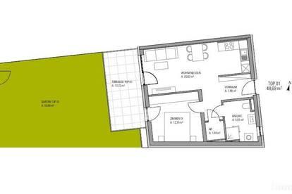 Neubauprojekt in Straßgang!!! 2-Zimmer Wohnung mit 54m² Garten und 14m² Terrasse, provisionsfrei!!!