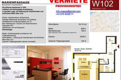 Ein-Zimmer-Apartment, möbliert, mit hochwertige Ausstattung, Zentrum Linz