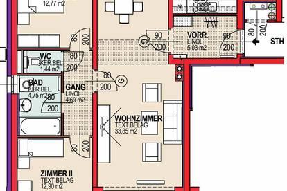 Mannersdorf/L. Geförderte 3 Zimmer Mietwohnung mit Kaufrecht   Balkon.