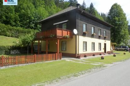 Sonniges, sofort beziehbares Zweifamilienhaus im Mariazellerland mit 2 Garagen und herrliche Aussicht auf die Berge