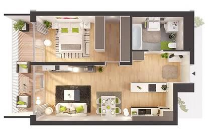 Provisionsfreie 2-Zimmer Neubau-Wohnung im Erdgeschoss (W01)