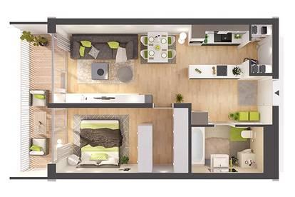 Provisionsfreie 2- Zimmer Neubau-Wohnung im Erdgeschoss (W02)
