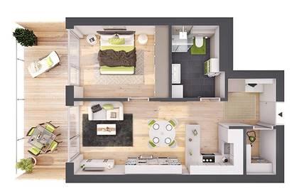 Provisionsfreie 2-Zimmer Neubau-Wohnung mit Terrasse (W06)