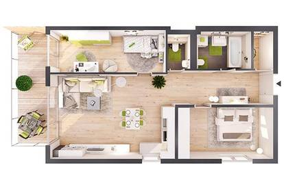 Provisionsfreie 3-Zimmer Neubau-Wohnung mit Balkon (W02)