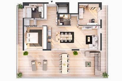 Provisionsfreie hochwertige 3-Zimmer Penthousewohnung mit Dachterrasse(BW09)