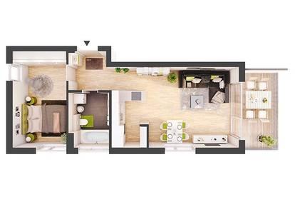 Provisionsfreie 2-Zimmer Neubau-Wohnung mit Balkon (DW03)