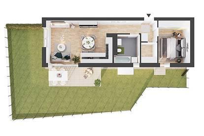 Provisionsfreie 2-Zimmer Neubau-Gartenwohnung (BW01)