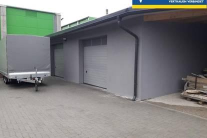 Werkstätte und Lagerhalle mit Büro. Diese Halle wäre auch sehr gut als Oldtimer-Garage geeignet.