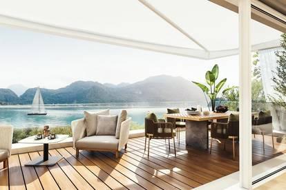 Holiday-Style am Mondsee! Privilegiertes Seeleben  im Neubau Eck-Haus  mit privatem Badeplatz