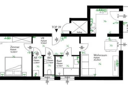 2 Zimmerwohnung im DG mit ca. 3,44m² Balkon