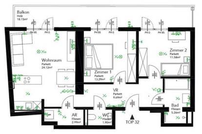 3 Zimmer Wohnung  im 2. Lifstock mit ca. 18,15m² Balkon