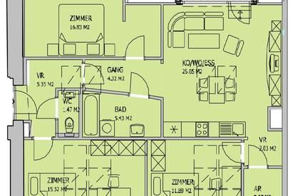 Wunderschöne 4 Zimmer Wohnung mit Loggia direkt am Mühlgang - Provisionsfrei!