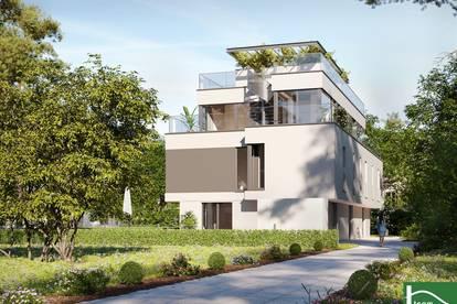 Traumhafter Wohnflair im 21. Bezirk - Moderne Reihenhaushäfte mit großer Dachterrasse & Balkon - umgeben von viel Natur