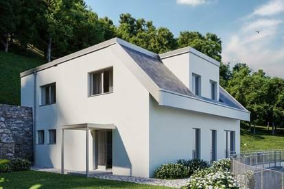 Designervilla mit Donaublick- Fernsicht PUR- Infinity Pool, Doppelgarage, Keller, Garten, Sauna, Weinkeller- NATUR Pur!