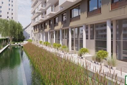 Neubauprojekt mit Schwimmbiotop, Biosupermarkt und Mega Dachterrasse mit Seeblick! U2 Seestadt!