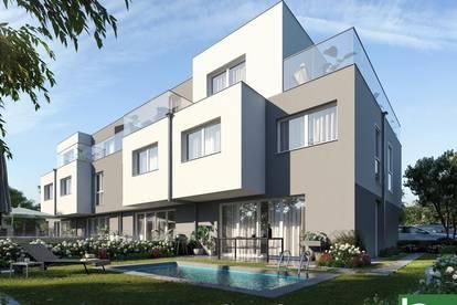 6 Zimmer + Terrasse + Garten! PROVISIONSFREIE Reihenhäuser! Das Beste aus Stadt und Natur! Eigengrund! Nähe U1 Leopoldau! DER ROHBAU STEHT BEREITS!
