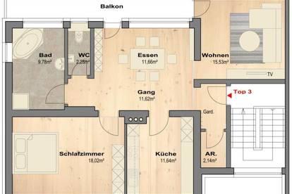 Schöne Dachgeschoss-Wohnung im 3 Parteienhaus