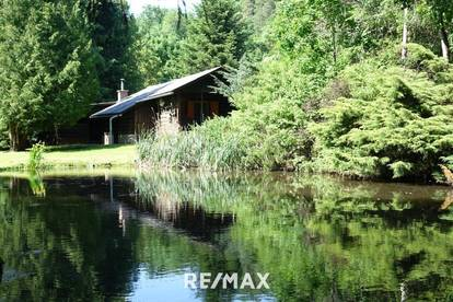 Freizeitparadies mit Blockhütte, Wasserflächen und Nebengebäude