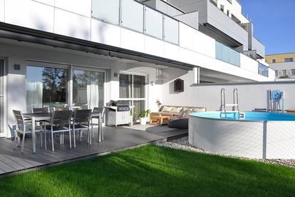 WALD & SINNE- 4-Raum Gartenwohnung Deluxe mit Pool und 2xTG in Steinhaus bei Wels