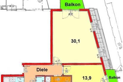 Graz-LKH: Großzügige 2-Zimmerwohnung mit ruhigem West-Balkon