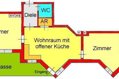 günstige 3-Zimmerwohnung mit Terrasse und Autostellplatz in Waltendorfer-Ruhelage