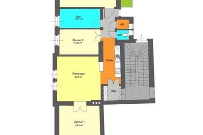 kürzlich sanierte 4 Zimmer Altbauwohnung mit kleinem Innenhofbalkon bei Schillerplatz