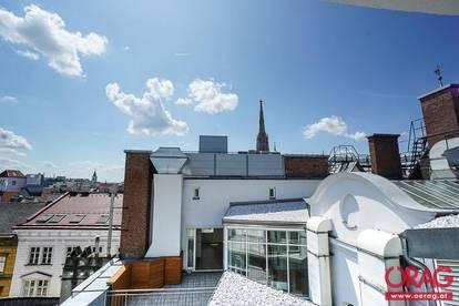 Moderne Dachgeschosswohnung mit sonniger 30 m² Terrasse nähe Rotenturmstraße - Miete in 1010 Wien