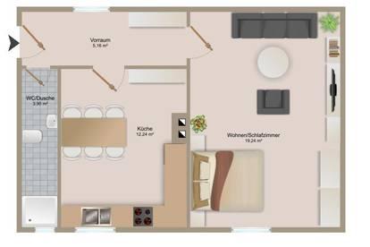 1 Zimmer Wohnung mit separater Küche!