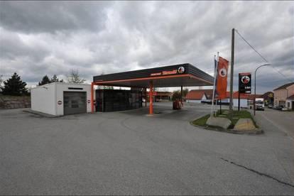 Shop, Waschhalle, Carport, Freifläche bei Automaten-Tankstelle zu mieten
