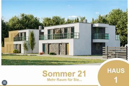 NEUBAU / 6-Zimmer Doppelhaushälfte mit Balkonen, Terrasse und Eigengarten / PROVISIONSFREI / Haus 1