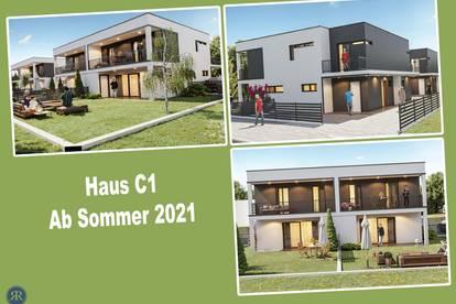 4-Zimmer Doppelhaushälfte in Ziegelmassivbauweise mit Balkonen, Terrasse und Garten / ab Sommer 2021 / Haus C1