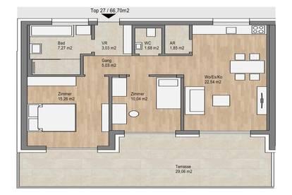 Exklusive 66m² Eigentumswohnung mit 30m² Terrasse in begrünter Ruhelage | hochwertige Bauweise und Ausstattung