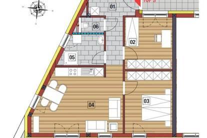 TOP-moderne 3-Zimmer Wohnung in Perg mit Blick ins Alpenvorland