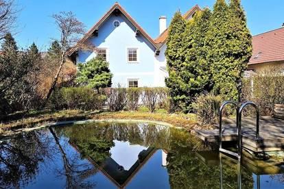 LAAB IM WALDE! Topgepflegte 120 m2 Doppelhaushälfte mit ca. 250 m2 Terrasse/Garten, 5 Zimmer, Komplettküche, Schwimmbiotop