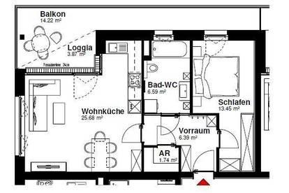 Vöcklabruck, Wohnpark Heschgasse - gemütliche 2-Raum-Wohnung - 1/14/2.OG