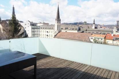 Palais Bismarck! Geniale Dachterrassenwohnung, 64 m² WNFL + ca. 30 m² Dachterrasse in den Innenhof im 6. Liftstock, Küche möbliert (Ablöse), Top 20