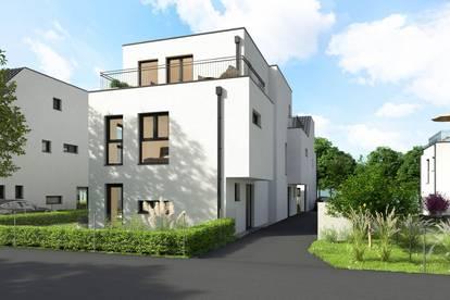 NEU 109 m² Doppelhaushälfte mit Eigengarten + Dachterrasse, vollunterkellert, Ziegelmassiv, 4 Zimmer, PKW-Abstellplatz, Haus 1