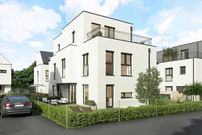 NEU, 4 Zimmer, Doppelhaushälfte mit Süd-West Eigengarten und Dachterrasse, 111 m², vollunterkellert, Ziegelmassiv, PKW-Abstellplatz, Haus 2