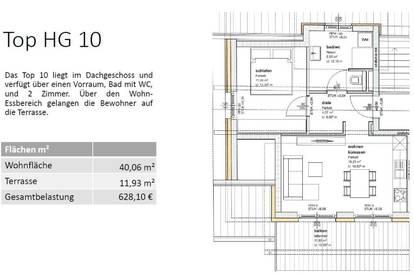 HG10 DACHGESCHOSS (2.STOCK) - 40 m² - EINE VON 16 MIETWOHNUNGEN IN GMUNDEN - SONNIGE LAGE - BALKON ODER TERRASSE