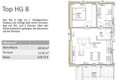 HG08- DACHGESCHOSS (1.Stock) 49,30 m² - EINE VON 16 MIETWOHNUNGEN IN GMUNDEN - SONNIGE LAGE - BALKON ODER TERRASSE