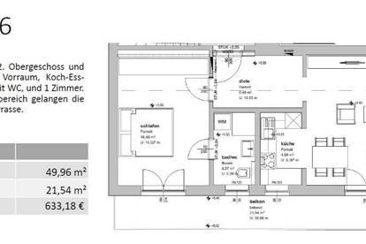 HG06 - 49 m² - EINE VON 16 MIETWOHNUNGEN IN GMUNDEN - SONNIGE LAGE - BALKON ODER TERRASSE