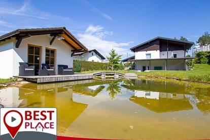 Einfamilienhaus in sonniger Lage mit Naturschwimmteich, Badehaus und Sonnenterrasse